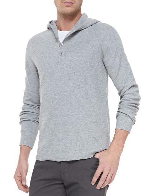 Slub-Knit Hooded Henley Shirt by Vince in Pretty Little Liars - Season 6 Episode 13