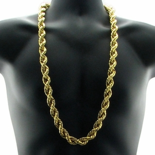 Gold Plated Rope Dookie Chain Necklace by Bling Cartel in Straight Outta Compton