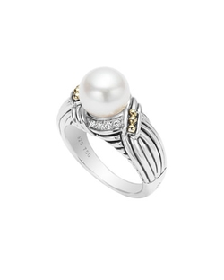Luna Diamond & Pearl Twist Small Ring by Lagos in Scream Queens