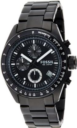 Men's Stainless Steel Chronograph Black Dial Watch by Fossil in About Last Night