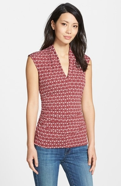 'Sahara' Print Pleated V-Neck Top by Vince Camuto in Clueless