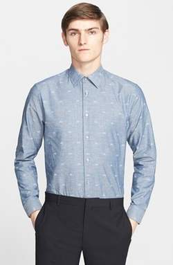 Trim Fit Bicycle Print Chambray Dress Shirt by Paul Smith London in The Flash