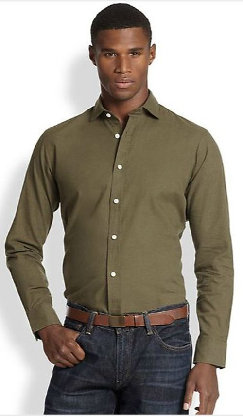 Poplin Estate Sportshirt by Polo Ralph Lauren in Blackhat