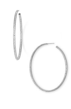 Pavé Inside Out Hoop Earrings by Nadri in Get Hard