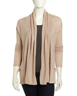 Two-Pocket Open-Front Linen Cardigan by Neiman Marcus in The Best of Me
