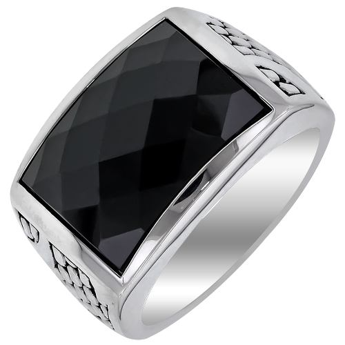 Faceted Black Onyx Ring in Sterling Silver by Day's Jewelers in No Escape
