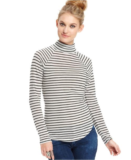 Juniors' Striped Raglan Turtleneck Top by Planet Gold in New Year's Eve
