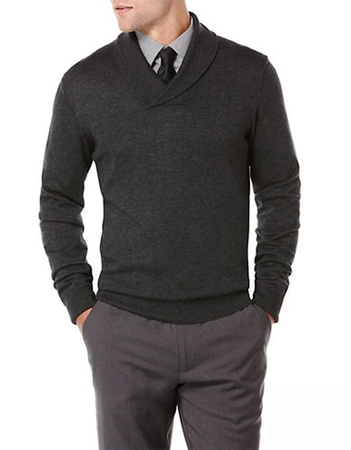 Shawl Collar Sweater by Perry Ellis in The Blacklist - Season 3 Episode 8