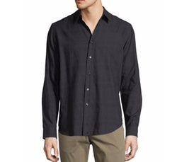 Brushed Tonal Plaid Cotton Shirt by Theory in Preacher