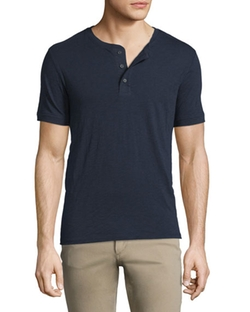 Short-Sleeve Slub Henley Shirt by Vince in Quantico
