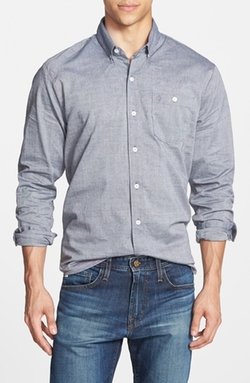 'Everett' Peached Oxford Woven Shirt by Volcom in The Mindy Project