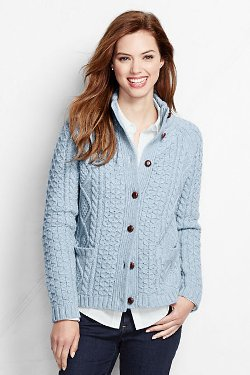 Women's Lambswool Aran Cardigan Sweater by Lands' End in Shutter Island