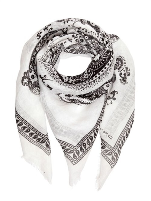 Paisley Printed Linen Gauze Scarf by Etro in Focus