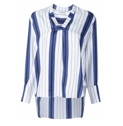 Striped  V Neck Blouse by Protagonist in Silicon Valley