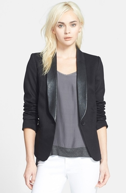 Faux Leather Lapel Ponte Blazer by James Jeans in Spy