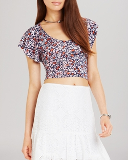Ruffle Sleeve Crop Top by BCBGeneration in Modern Family