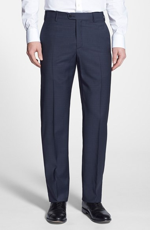 'Devon' Flat Front Plaid Wool Trousers by Zanella in The Man from U.N.C.L.E.