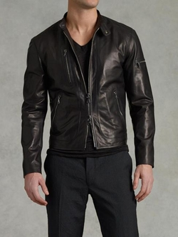 Zip Pocket Leather Jacket by John Varvatos in Empire