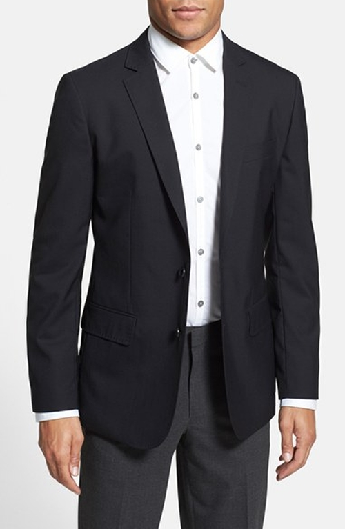 Trim Fit Wool & Mohair Blazer by Calibrate in Ballers