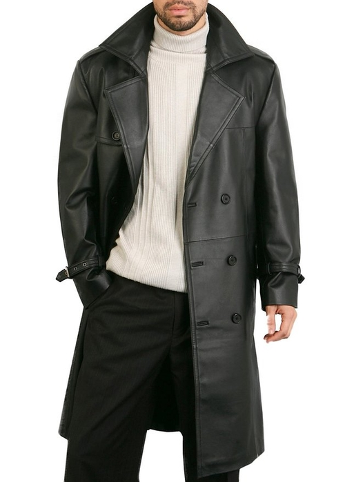 """Xander"" Classic Leather Long Trench Coat by BGSD in GoldenEye"