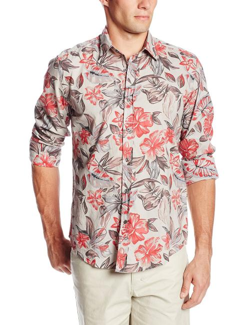 Men's Floral Slim Fit Long Sleeve Shirt by Antony Morato in Anchorman 2: The Legend Continues
