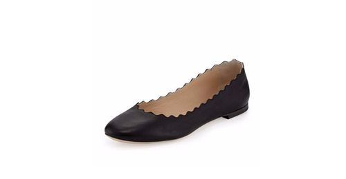 Scalloped Calfskin Ballerina Flat Shoes by Chloe in Animal Kingdom