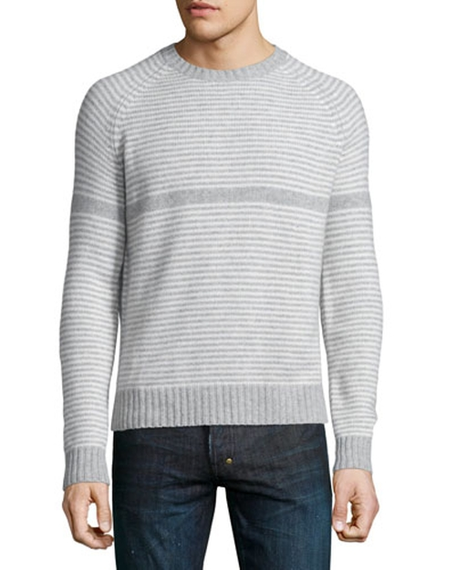 Striped Crewneck Sweater by Neiman Marcus in Black-ish - Season 2 Episode 10