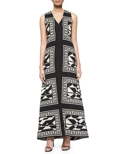 Angelica Geometric-Print Long Vest by Alice + Olivia in Black-ish