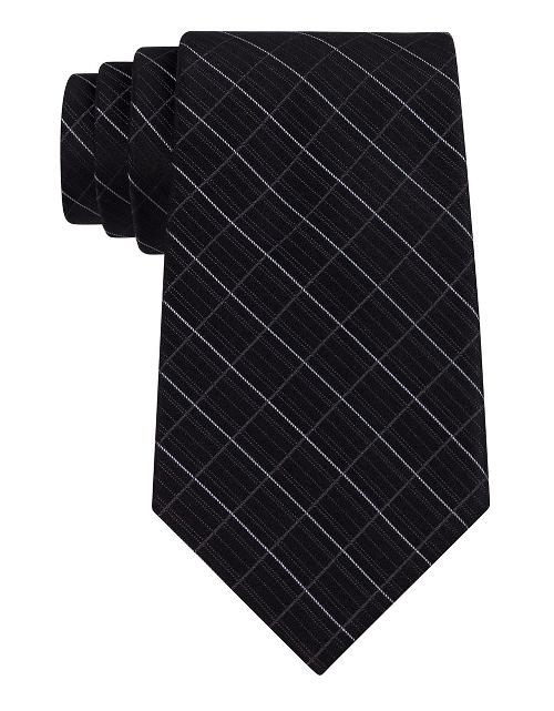 Classic Fit Etched Windowpane Plaid Silk Tie by Calvin Klein in Frank Miller's Sin City: A Dame To Kill For
