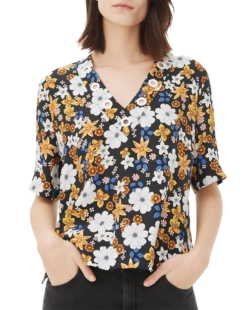 Ekin Floral Printed Top by Sandro in Pretty Little Liars
