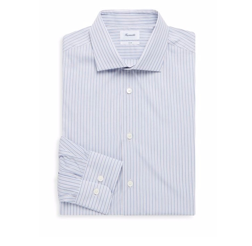 Striped Spread Collar Cotton Dress Shirt by Faconnable in Kingsman: The Secret Service