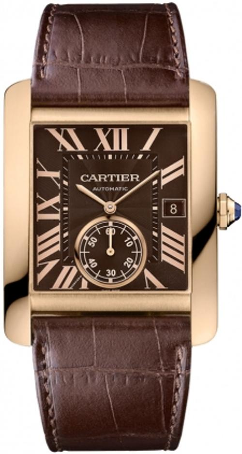 Tank MC Mechanical Brown Dial Brown Leather Strap Mens Watch by Cartier in Yves Saint Laurent