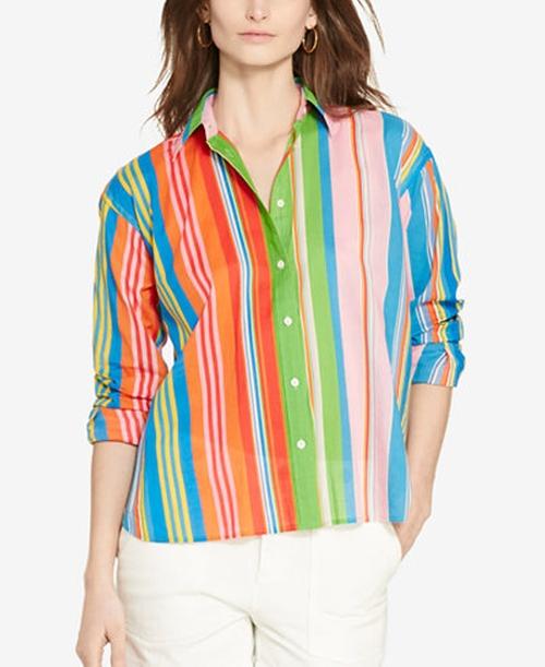 Petite Multi-Striped Shirt by Lauren Ralph Lauren in Mistresses - Season 4 Episode 8