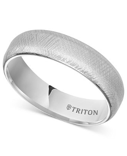 White Tungsten Florentine Finish Ring by Triton in Unfinished Business