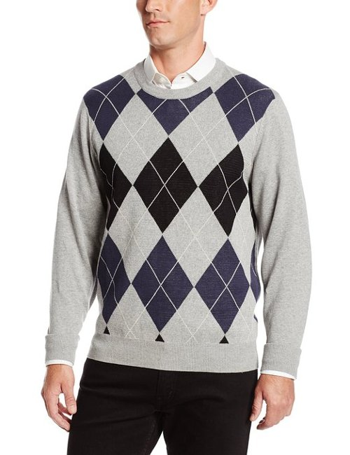 Classic Argyle Crew Neck Sweater by Arrow in Wild