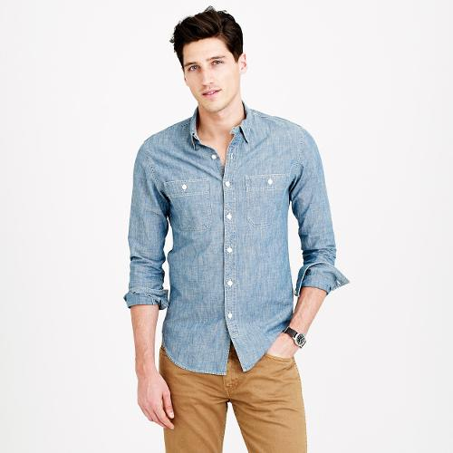 Selvedge Japanese Chambray Utility Shirt by J.Crew in The Maze Runner