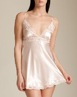 Charmeuse Silk Lace Back Chemise by JANE WOOLRICH in Oculus