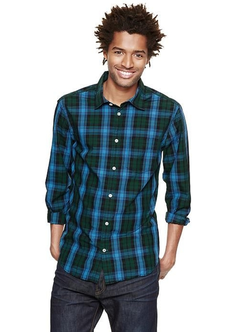 Plaid Green Button Shirt by Gap in Poltergeist
