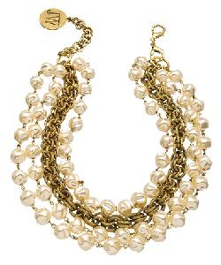 John Wind Maximal Art Gold And Pearl Lena Horne Convertible Necklace by Max and Chloe in The Other Woman