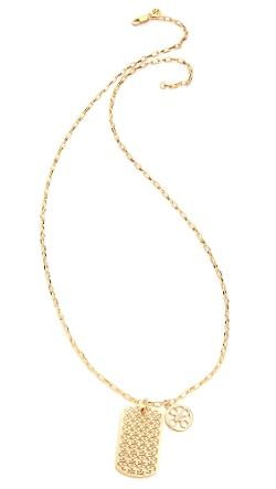 Kinsley Dog Tag Necklace by Tory Burch in Project Almanac