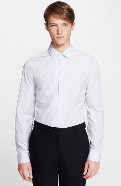 Slim Fit Dot Dress Shirt by Paul Smith London in Birdman