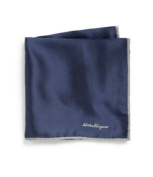 Silk Twill Pocket Square by Salvatore Ferragamo in Self/Less