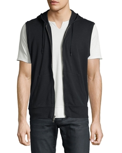 Terry Knit Zip-Front Hooded Vest by John Varvatos Star USA in Rosewood