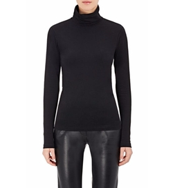 Cotton-Blend Jersey Turtleneck Top by Barneys New York in Power
