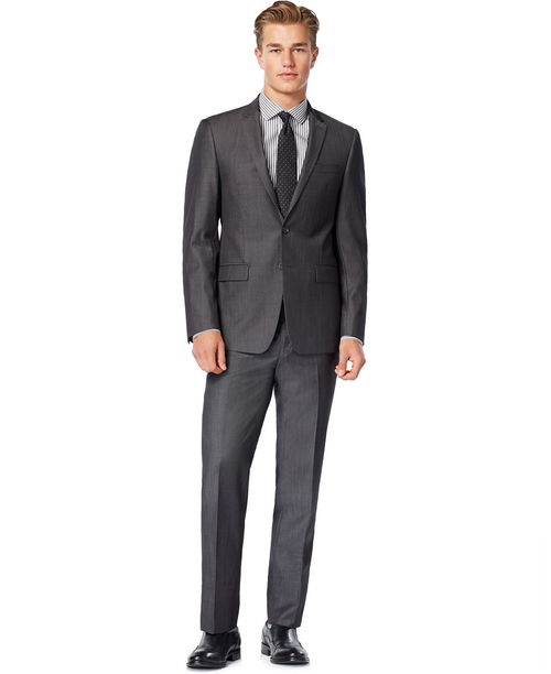 Iridescent Solid Slim-Fit Suit by DKNY in The Purge: Election Year