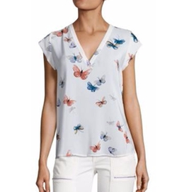 Rubina Butterfly Printed Silk Blouse by Joie in Fuller House