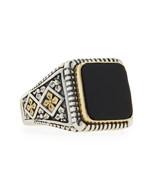 Men's Onyx Square Ring by Konstantino  in Sully
