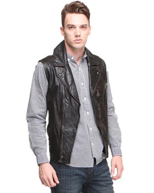 Leather Moto Vest by DJP OUTLET in Brick Mansions