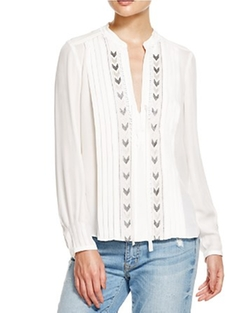 Chevron Embellished Top by Rebecca Taylor in Rosewood