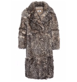 D'arblay Cheetah-Print Shearling Coat by Topshop Unique in Empire